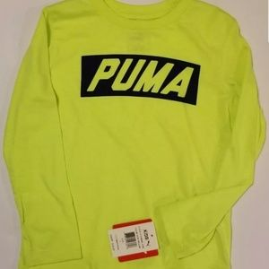 Puma Logo Tee Shirt Long Sleeve Cotton Acid Yellow